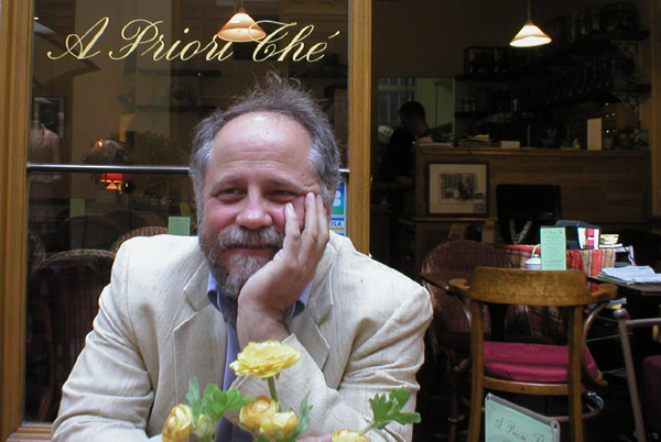Mark Willis muses over coffee in Galerie Vivienne, Paris 2007.
