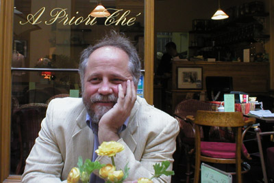 Mark muses over coffee in Galerie Vivienne, Paris 2007.