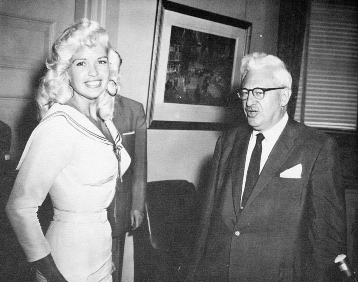 Toronto Mayor Nathan Phillips welcomes Jayne Mansfield to City Hall on August 2, 1957.