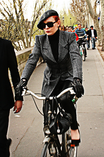 Fashion police on bicycle patrol in Paris.