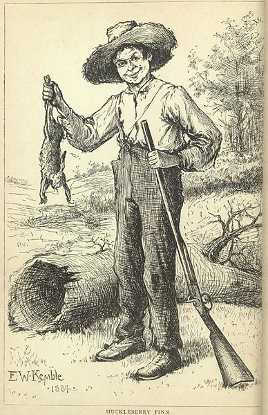 "E.W. Kemble's drawing of ""Huckleberry Finn with a Rabbit"" from the original 1884 edition of Mark Twain's great American novel."