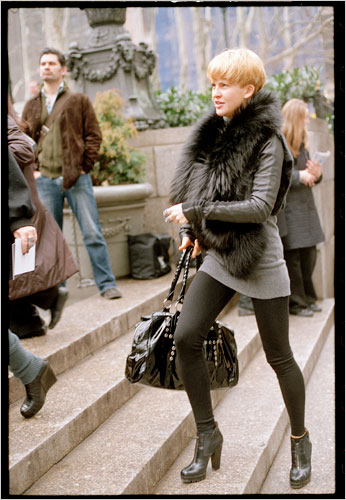 """Young women in New York challenge economic indicators with rising hemlines, according to NYT """"On the Street"""" photographer Bill Cunningham."""