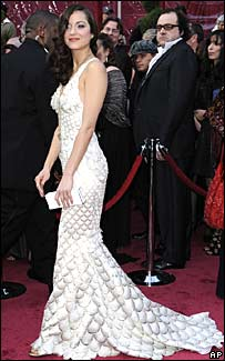 Marion Cotillard's Oscar dress was designed by Jean-Paul Gautier. [Photo source: BBC/AFP]