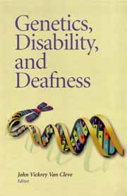 Book cover for Genetics, Disability, and Deafness (published by Gallaudet Univrsity Press).