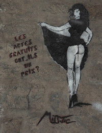 Stencil art by Miss Tic on a wall near Rue Mouffetard, Paris.