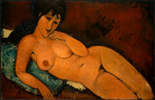 Amadeo Modigliani. Nude on a Blue Cushion. 1917. National Gallery of Art, Washington, D.C.