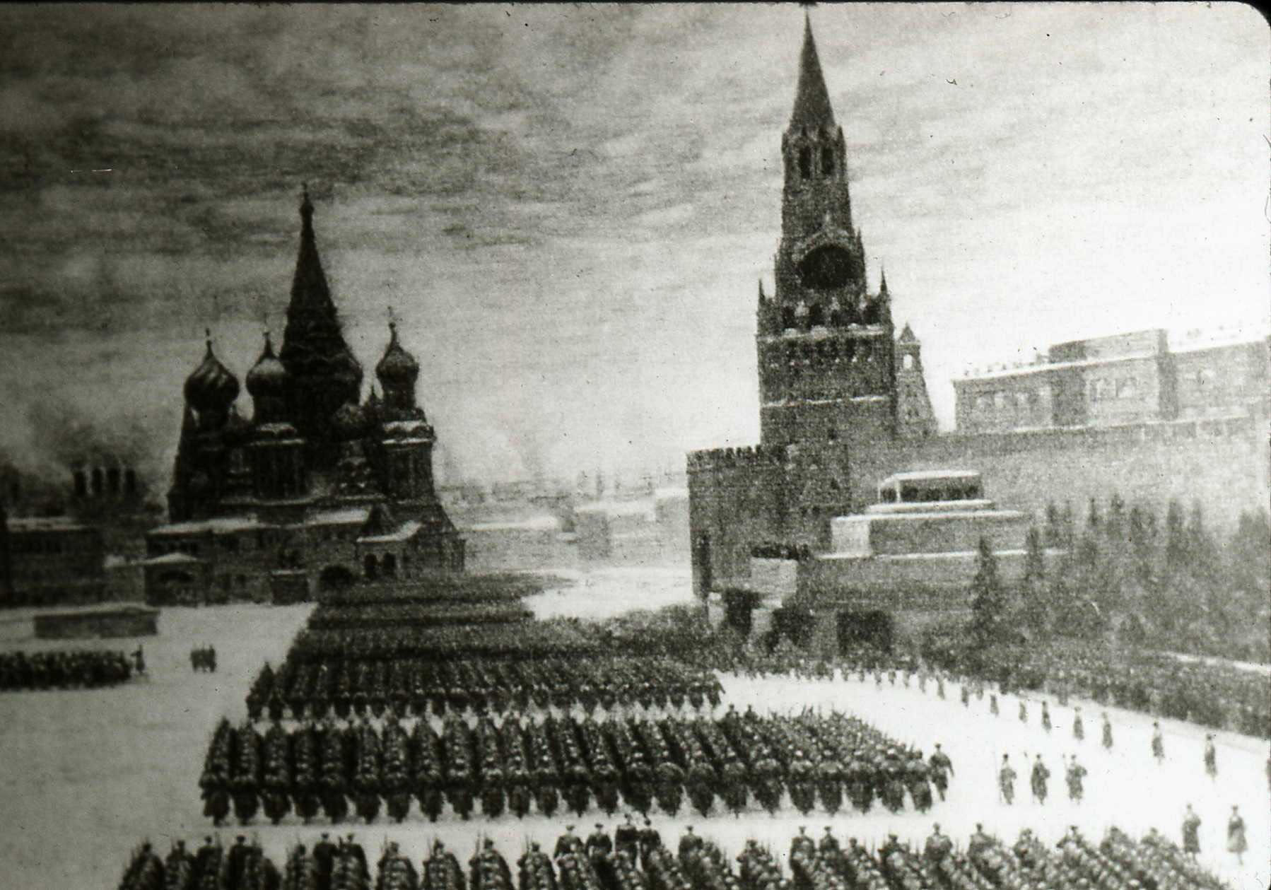 A howling blizzard can't stop the military parade on Red Square in Moscow on Red Army Day, 1941.