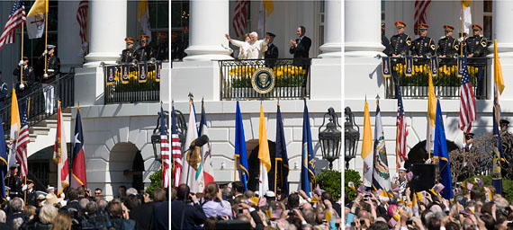 """On the White House South Lawn, 13,500 people greeted the pope, along with a 21-gun salute, a fife-and-drum band, two rounds of """"Happy Birthday,"""" and Kathleen Battle singing the Lord's Prayer. [Photo by Stephen Crowley/NYT]"""