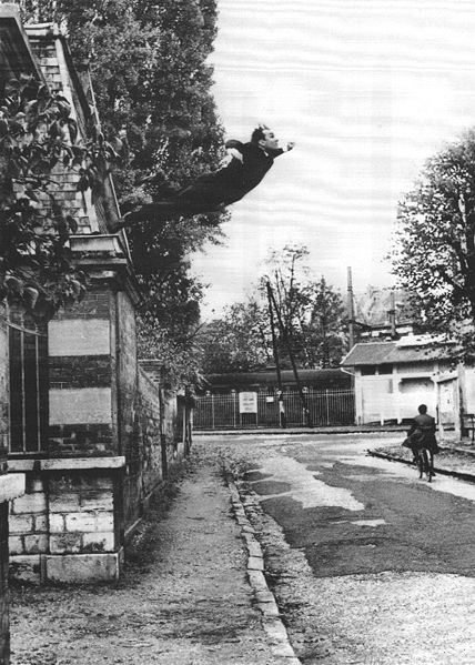 Le Saut dans le Vide (Leap into the Void) is a photograph of a performance by Yves Klein at Rue Gentil-Bernard, Fontenay-aux-Roses, October 1960. [Photo by by Harry Shunk/Wikipedia]