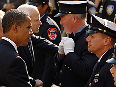 Barack Obama and John McCain go to ground zero together to pay tribute to victims of the terrorist attacks. [Photo by Chad Rachman/Getty Images/NPR]