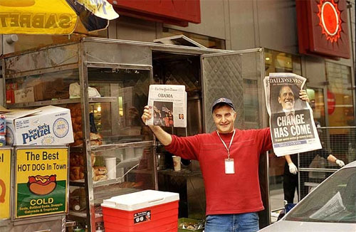 New York street vendors did brisk business selling newspapers documenting Barack Obama's victory on the morning after the election.. [Photo by Bill Cunningham/NYT]