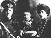 Acmeist poets Nicholai Gumiliev and Anna Akhmatova with their son Lev in 1913.