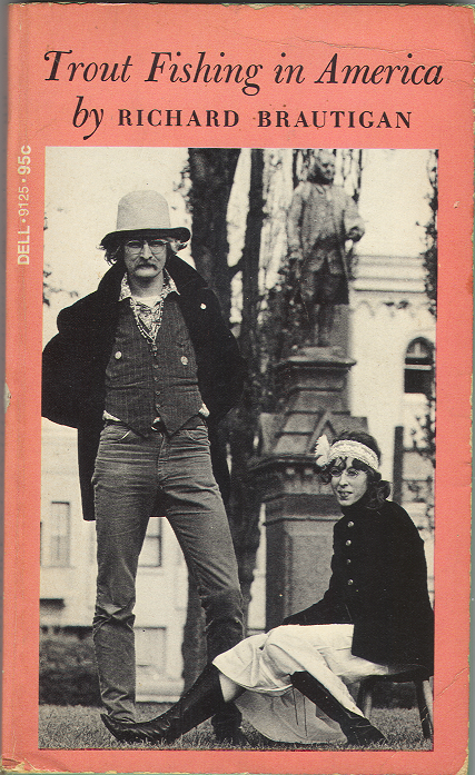 """Iconic book cover for Richard Brautigan's 1967 novel """"Trout Fishing in America"""""""