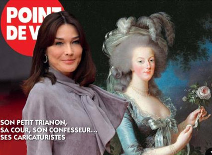 Point de Vue magazine cover with Carla Bruni and Marie Antoinette. [Source: The First Post]