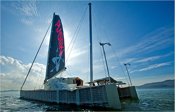 The owner of the Plastiki, a 60-foot catamaran made mostly from recycled plastic, plans to sail it from San Francisco to Sydney, Australia. [Photo by Peter DaSilva/NYT]