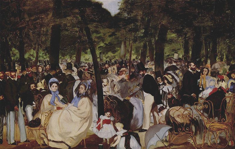Édouard Manet. Music in the Tuileries. Oil on canvas, 1862. National Gallery, London [Source: Wikipedia]