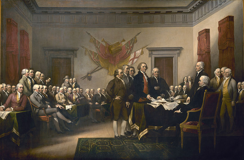John Trumbull's Declaration of Independence is a 12-by-18-foot oil-on-canvas painting in the United States Capitol Rotunda that depicts the presentation of the draft of the Declaration of Independence to Congress. It was based on a much smaller version of the same scene, presently held by the Yale University Art Gallery.[1] Trumbull painted many of the figures in the picture from life and visited Independence Hall as well to depict the chamber where the Second Continental Congress met. The oil-on-canvas work was commissioned in 1817, purchased in 1819, and placed in the rotunda in 1826. [Source: Wikipedia]