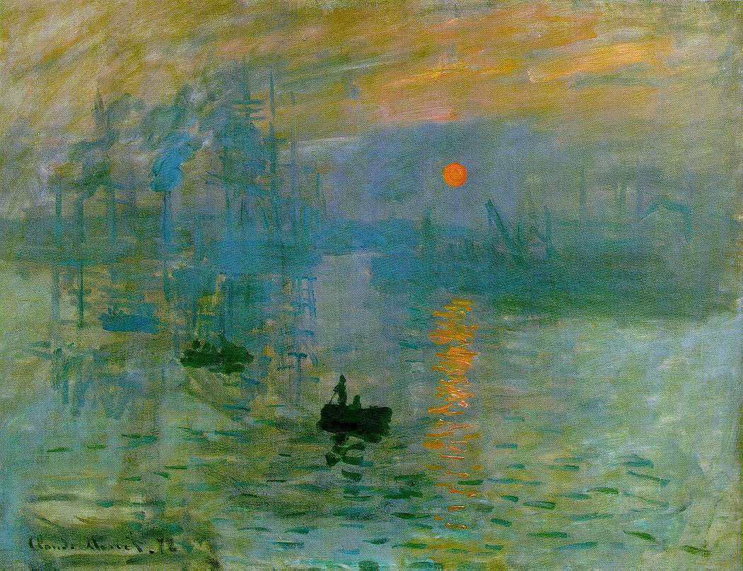 Claude Monet. Impression, Sunrise (Impression, soleil levant). 1872, oil on canvas. Musée Marmottan Monet, Paris. [Source: Wikimedia Commons]