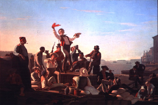 George Caleb Bingham. Jolly Flatboatmen in Port. 1857. Oilon canvas. [Source: St.Lous Art Museum/http://writing2.richmond.edu/jessid/eng423/restricted/423specialcol.html]