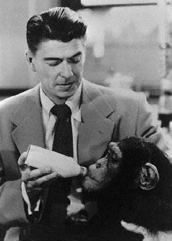 "Ronald Reagan was co-star of the 1951 movie ""Bedtime for Bonzo."""