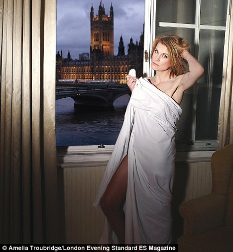 Sally Bercow in a sheet. [Source: Evening Standard]