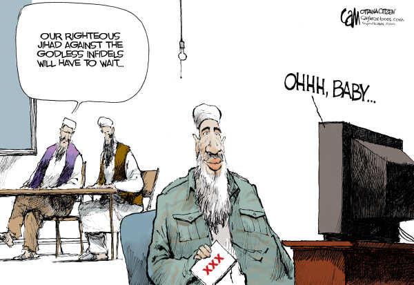 Canadian cartoonist Cam Cardow riffs on the discovery of porn in Osama's Abbottabad hideout. [Source: @globalcartoons http://twitter.com/globalcartoons/status/71230697511190528]