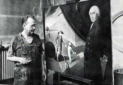 "Photo of Grant Wood with his painting, ""Parson Weems' Fable,"" in 1939. [Source: Cedar Rapids Museum of Art Archives/Common-Place July 2006/http://www.common-place.org/vol-06/no-04/biel/]"