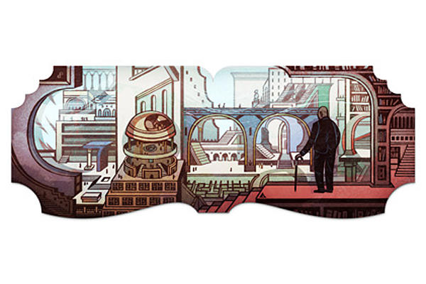 Google celebrated Argentine writer Jorge Luis Borges' 112th birthday with a Doodle. [Source: CSMonitor.com]
