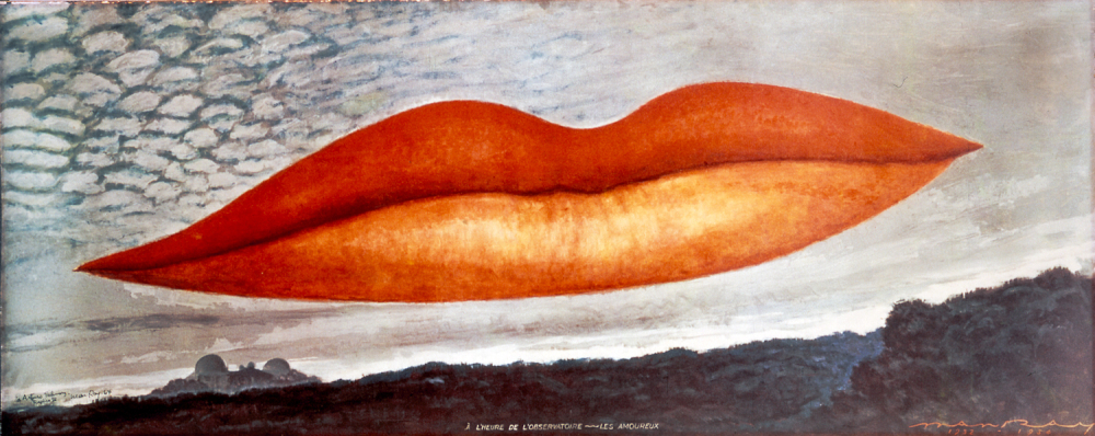 Lee Miller's lips fly over a forest in Man Ray's Observatory Time - The Lovers, an oil painting from 1934. [Source: The Israel Museum/Man Ray Trust /NPR]