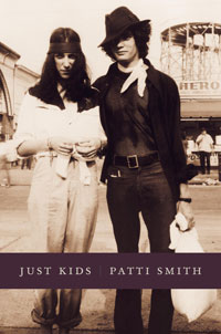 "Book cover for ""Just Kids"" a memoir by Patti Smith about her life with photographerr Robert Maplethorpe."