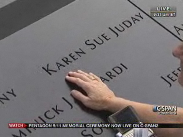 Visitors at the National September 11 Memorial and Museum can touch the names of those who perished in the attacks. The names are cast in bronze parapets ringing the reflection pools that now fill the footprints of the Twin Towers. It is a worthy example of a universal design element that also provides tactile accessibility to blind visitors. [Source: C-Span live stream]