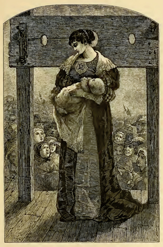 Hester Prynne holds her infant daughter Perl in an engraved illustration from an 1878 edition of The Scarlet Letter. [Source: Wikimedia Commons]