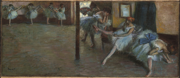 Edgar Degas. Ballet Rehearsal. Oil on canvas. 1885-1891. Yale University Art Gallery. [Source: NPR]]