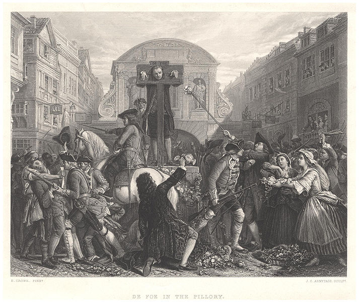 Daniel Defoe in the pillory, 1862 line engraving by James Charles Armytage after Eyre Crowe. [Source: Wikipedia]