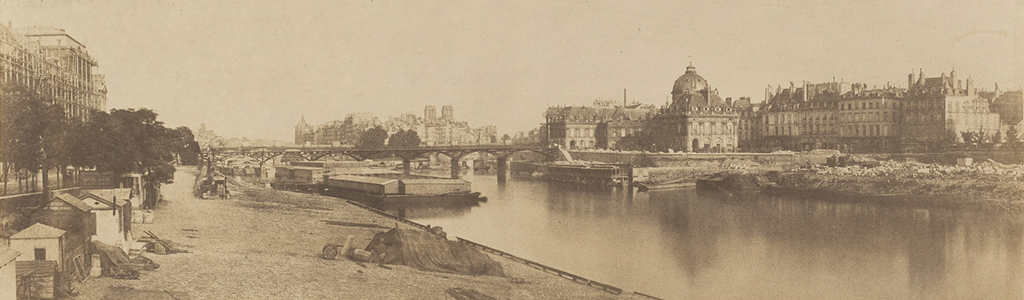 Charles Marville. The Seine from the Pont du Carrousel Looking towards Notre Dame. 1853. Salted paper print from paper negative mounted on paperboard. [Source: National Gallery of Art] http://www.nga.gov/content/ngaweb/exhibitions/2013/marville.html