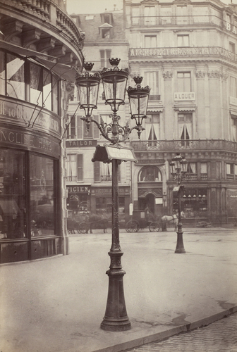 The elegant gas lamps of Paris' Haussmann transformation, seen here in 1877-1878, also contributed to its reputation as a modern metropolis. [Source: National Gallery of Art/NPR] http://www.npr.org/blogs/pictureshow/2013/09/30/226976849/an-insiders-view-of-19th-century-paris-even-the-urinals