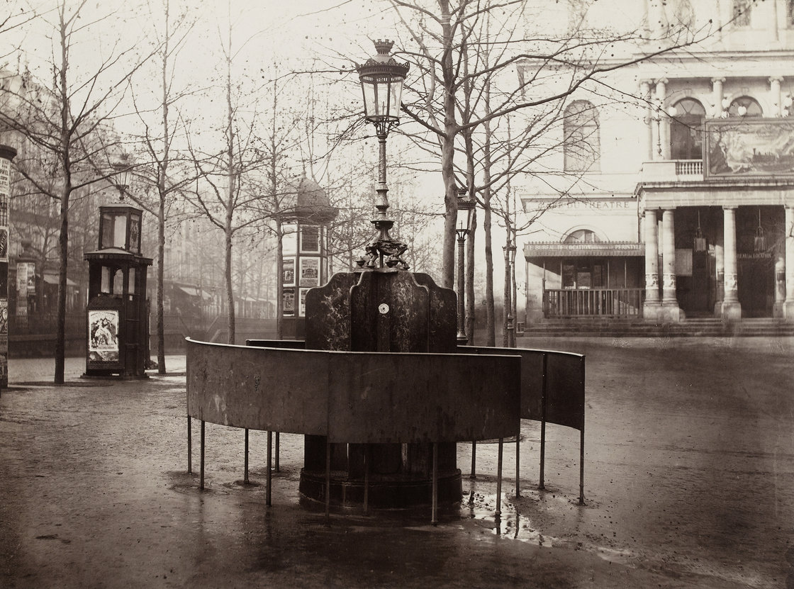 Paris' public urinals, seen here in an 1876 photograph by Charles Marville, helped cement its reputation as the most modern city in the world. [Source: National Gallery of Art/NPR] http://www.npr.org/blogs/pictureshow/2013/09/30/226976849/an-insiders-view-of-19th-century-paris-even-the-urinals