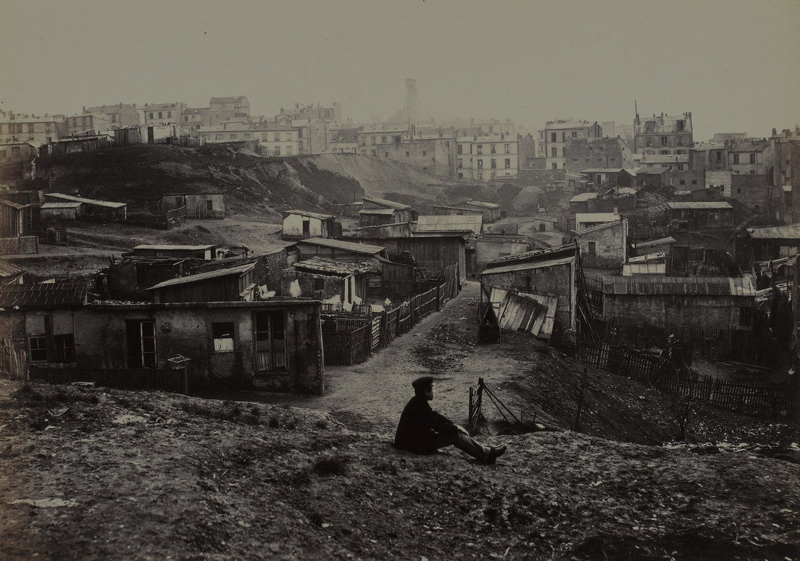 Charles Marville made more than 425 photographs of the narrow streets and crumbling buildings of premodern Paris, including this view from the top of Rue Champlain in 1877-1878. [Source: National Gallery of Art/NPR] http://www.npr.org/blogs/pictureshow/2013/09/30/226976849/an-insiders-view-of-19th-century-paris-even-the-urinals