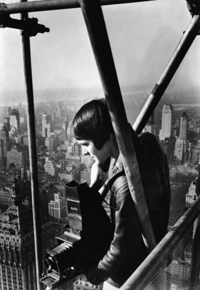Margaret Bourke-White, age 27, perches on the scaffolding enclosing the Chrysler Building under construction in New York in 1931. [Source: 'Great Lady With a Camera': Margaret Bourke-White, American Original | LIFE.com]