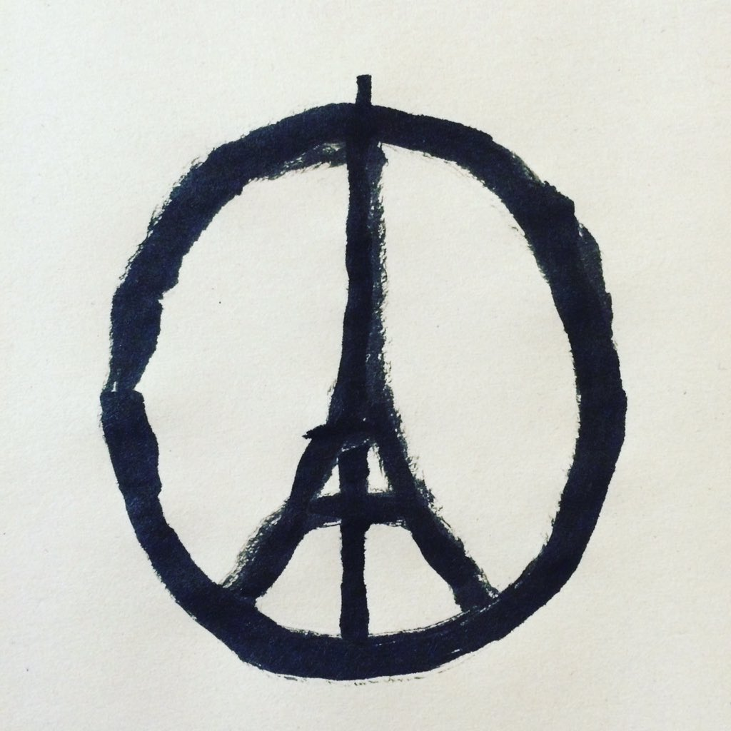 Jean Jullien. Peace for Paris. Image posted on Twitter on111315.
